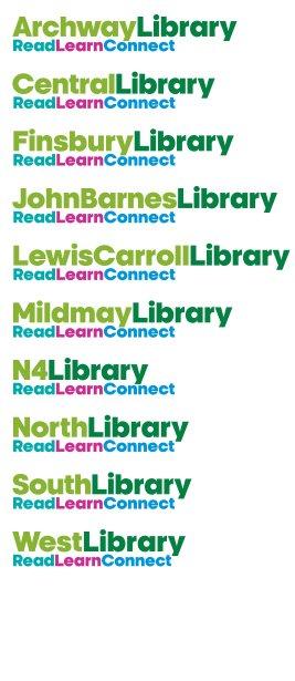 Islington Library logos x10 267w x 615h px